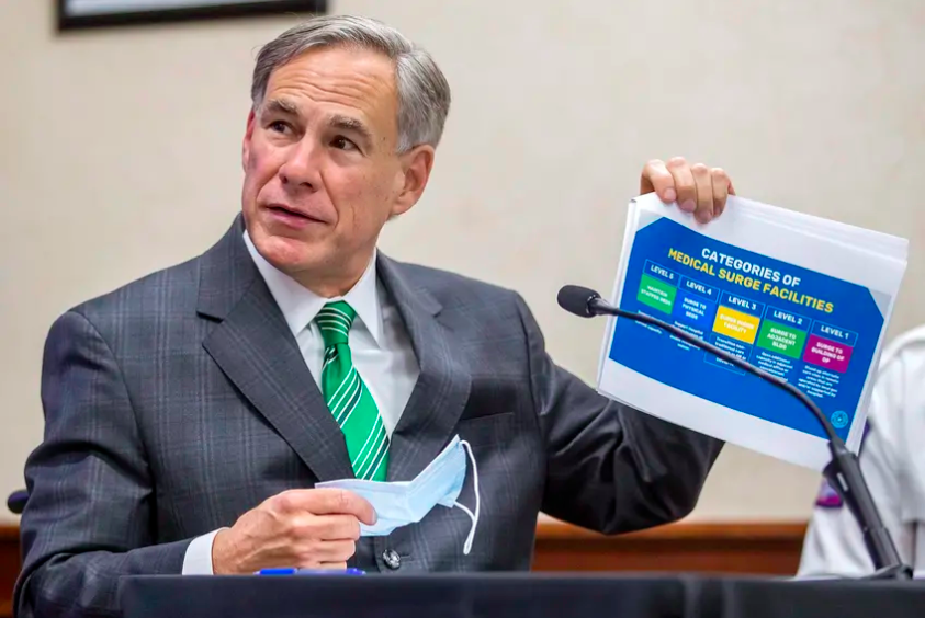 Gov. Greg Abbott speaks about the categories of medical surge facilities during a press conference at the Texas Department of Public Safety on Tuesday, June 16, 2020.