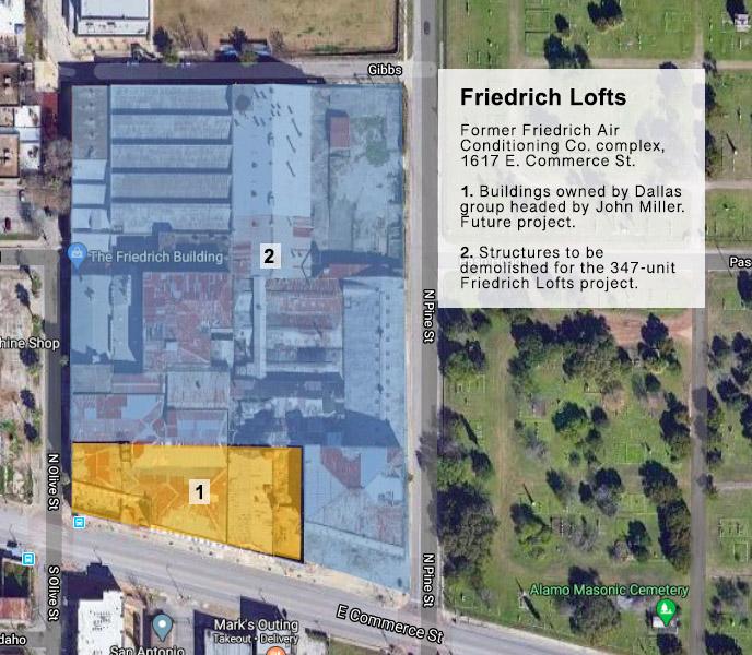 Friedrich Lofts site map 1617 E. Commerce St. San Antonio Texas