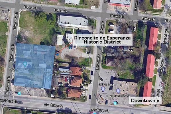 Map of Rinconcito de Esperanza historic district on West near Side in San Antonio, Texas.