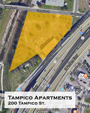 Tampico Apartments map, 200 Tampico St. near West Side San Antonio Texas