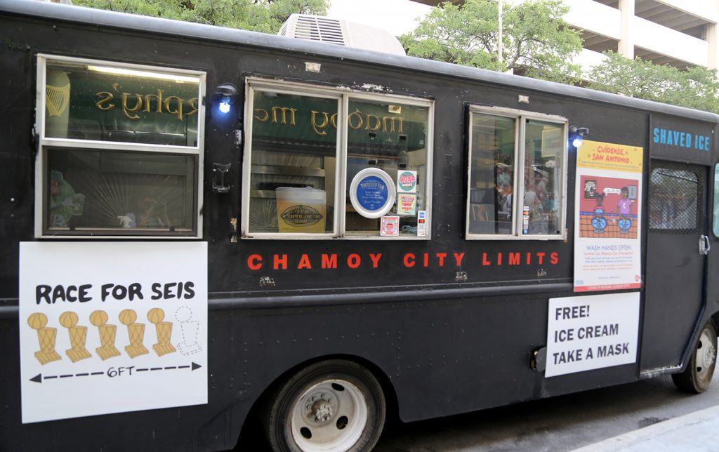 The Chamoy City Limits food truck is scene on the 100 block of Losoya Street on Friday , July 17, 2020.