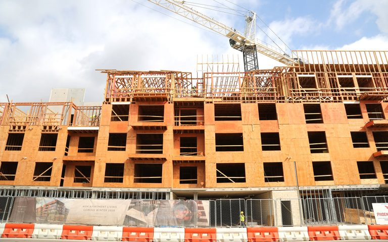The Lofts at River North are under construction at Broadway and Jones on July 9, 2020. NRP Group and the San Antonio Housing Trust PFC are building the apartments.