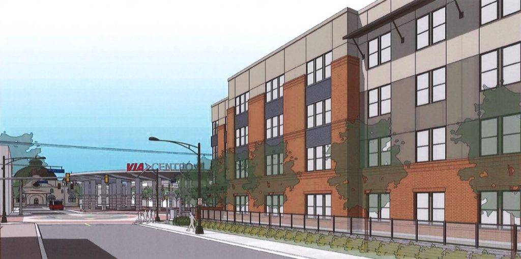 Rendering of Cattleman Square Lofts August 2020 at 811 W. Houston St. by Alamo Community Group.