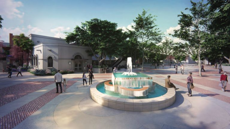 Rendering of Maverick Plaza renovation shows the fountain moved from the plaza's center closer to South Alamo Street.