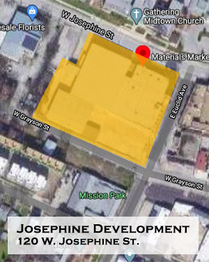 Map of development planned for 120 W. Josephine St.