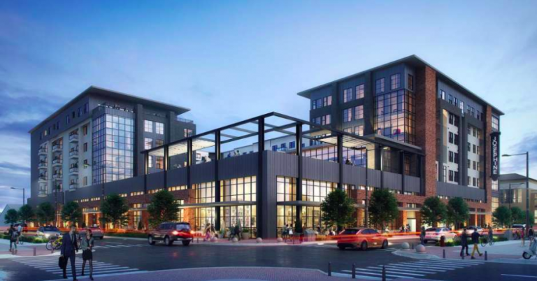 Rendering shows apartment building by the Lynd Company and the San Antonio Housing Authority.