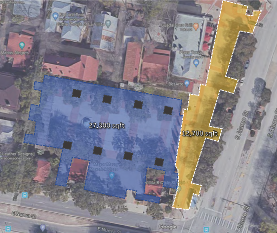 Map of Maverick Plaza showing current public space footprint.