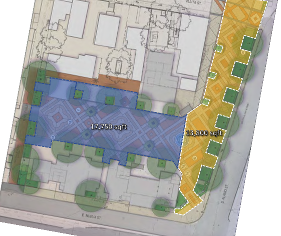 Map of Maverick Plaza showing public space footprint after redevelopment.