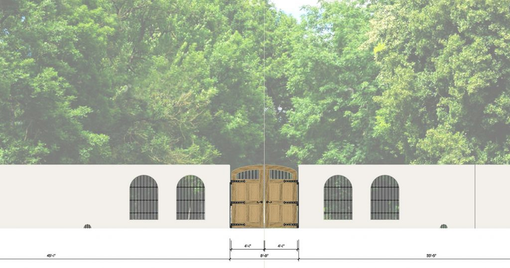 Final design rendering of new rear wall for the Spanish Governor's Palace. Courtesy City of San Antonio