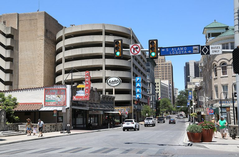 Commerce Street and Losoya Street in downtown San Antonio. Photo taken summer 2020 during the pandemic.