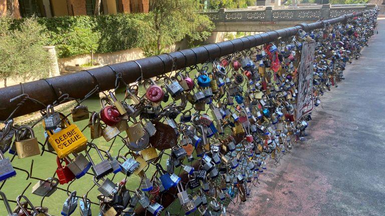 The Love Lock Bridge is located between Market Street and the Kallison Walk Bridge in downtown San Antonio.