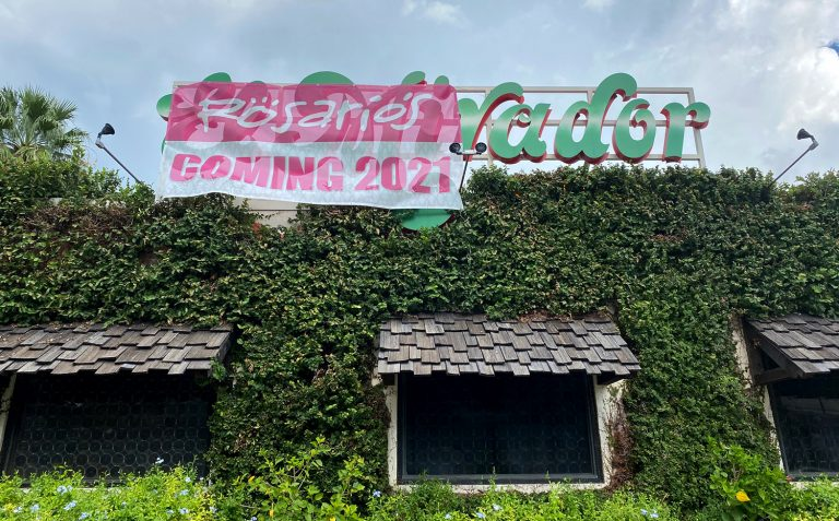 This sign advertising Rosario's move was seen Wednesday, Sept. 16, 2020 on the former El Mirador restaurant location, 722 S. St. Mary's St.