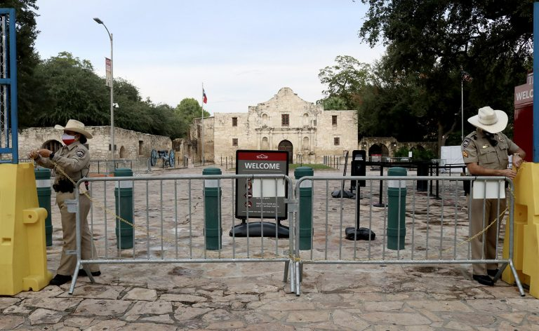 Texas Rangers close the Alamo ground on Sept. 17, 2020.