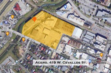 Map of Acero apartments, 419 W. Cevallos St., San Antonio, Texas