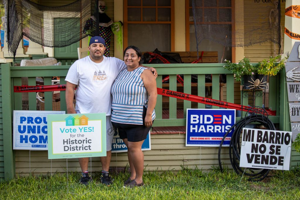 When Rubi and Charley Lopez stand in front of their West Side home on Monterey Street, which they purchased in 2018, in San Antonio Texas.