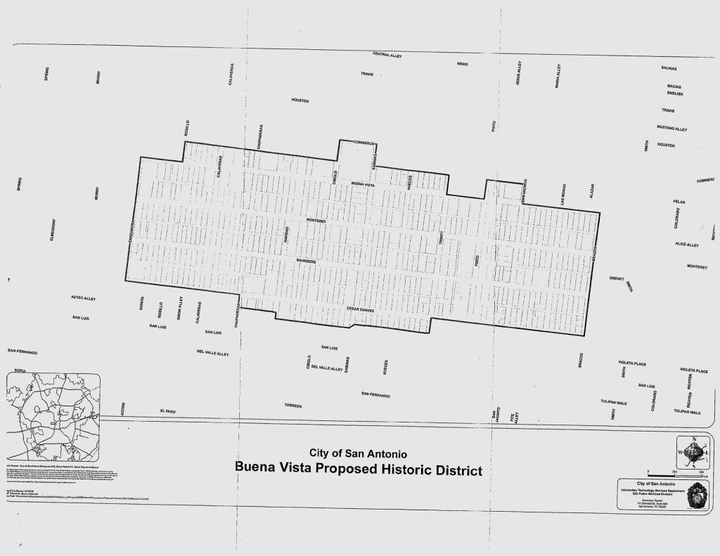 Map of the proposed Buena Vista Historic District.