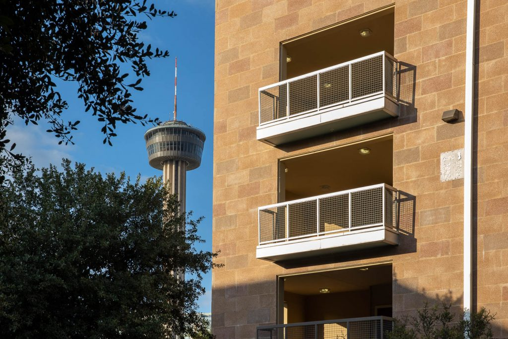 A view of the Tower of Americas from the Hemisview Village apartments on October 25, 2020.