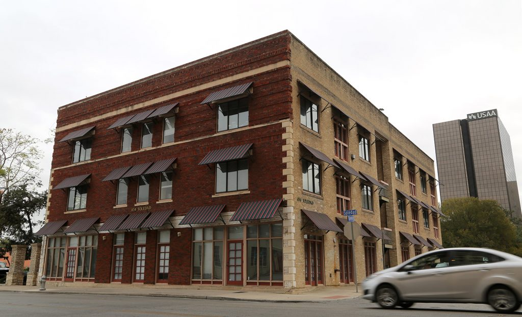 This three-story office building on the River Walk sits at 454 Soledad St.