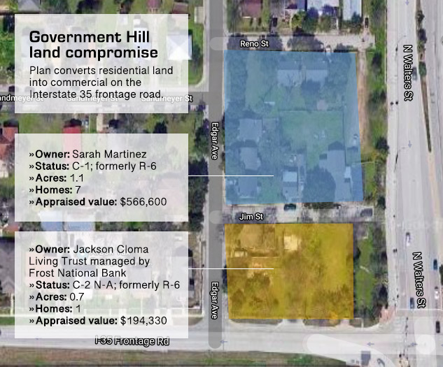 Map shows residential properties on the northwest corner of Walters Street and Interstate 35 that are being considered for commercial use.