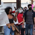 Housing advocates take their anti-SAHA protest to Flores Street on the way to the condo of CEO David Nisivoccia on Saturday, Nov. 21, 2020.