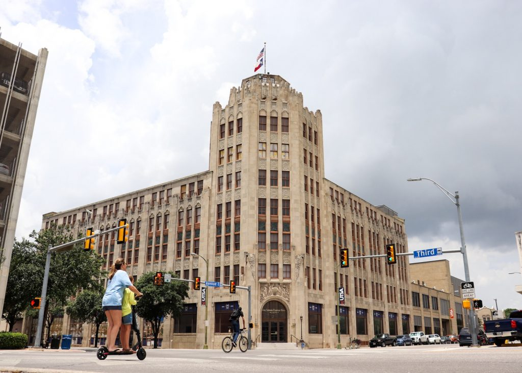 The San Antonio Express-News building on Avenue E and Third Street in 2019.