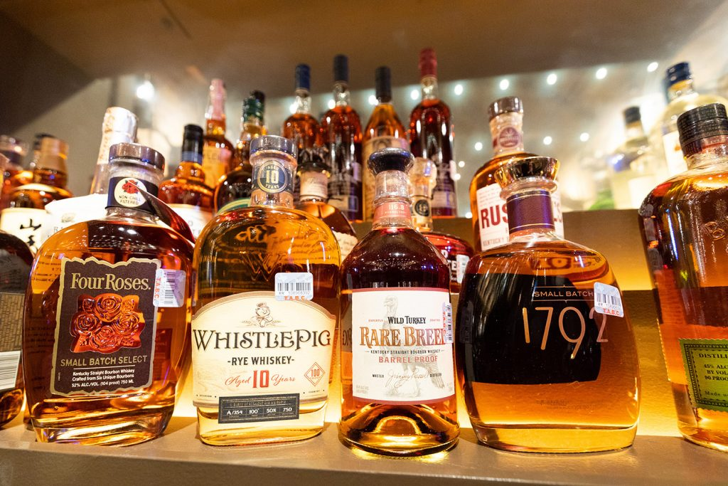 High-end bourbons are the backbone of Pinkerton's bar menu.