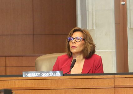 Shirley Gonzales attends listens at a City Council meeting on May 20, 2021.