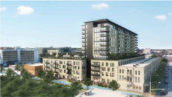 A rendering shows a 12-story apartment building flanked by development on the site of the current Continental Hotel and Arana buildings, which are both vacant.