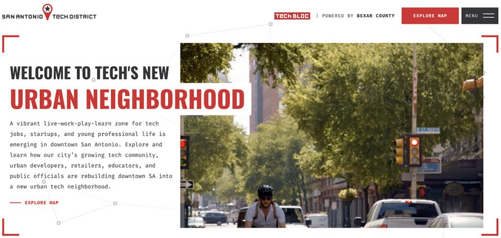 sanantoniotechdistrict.com was launched recently by Tech Bloc to market downtown's emerging Tech District.