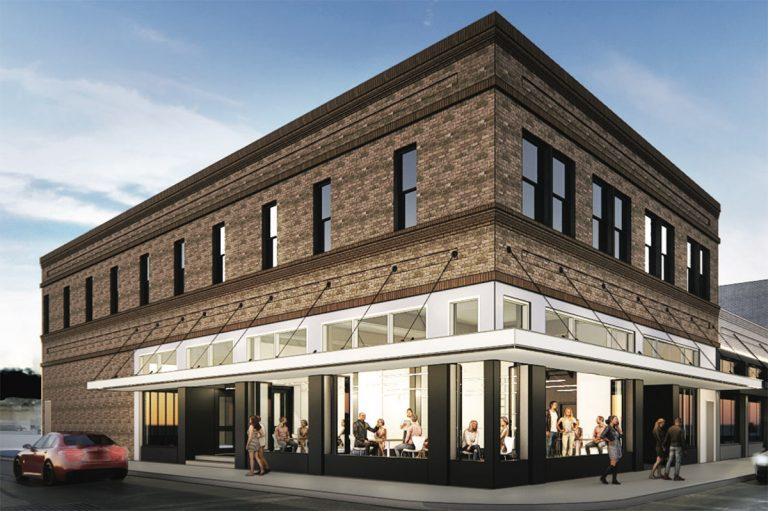 The Leeds building, 345 W. Commerce St., is looking to be renovated by Cory Stehr and a business partner. June 16, 2021 HDRC agenda. Courtesy rendering