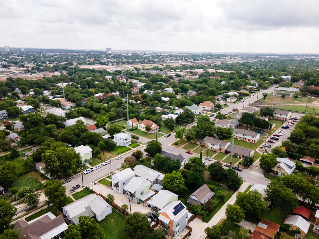Drone shot of the East Side of San Antonio.