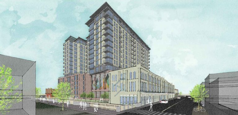 The 15-story, 255-unit Weston Urban development from the perspective of West Commerce Street.