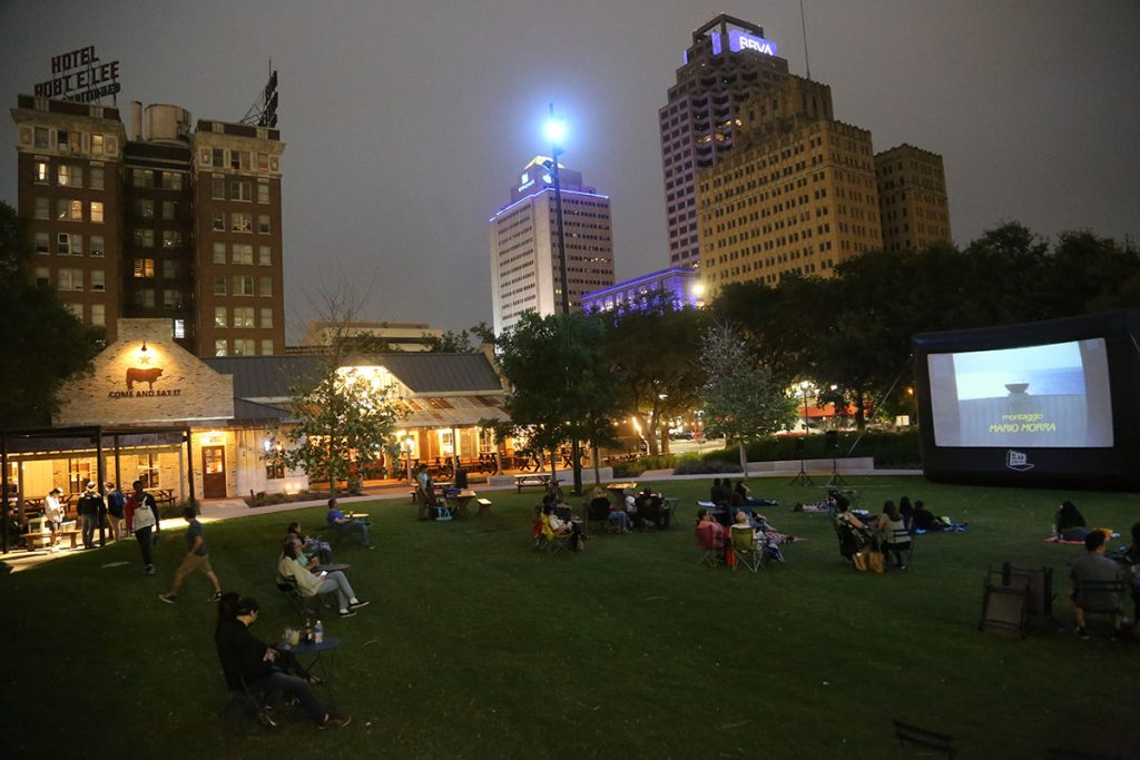 """Movie buffs attend a screening of """"Cinema Paradiso"""" April 27 at Legacy Park."""
