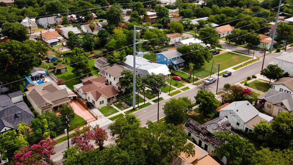 Drone shot of the East Side of San Antonio. July 5, 2021.