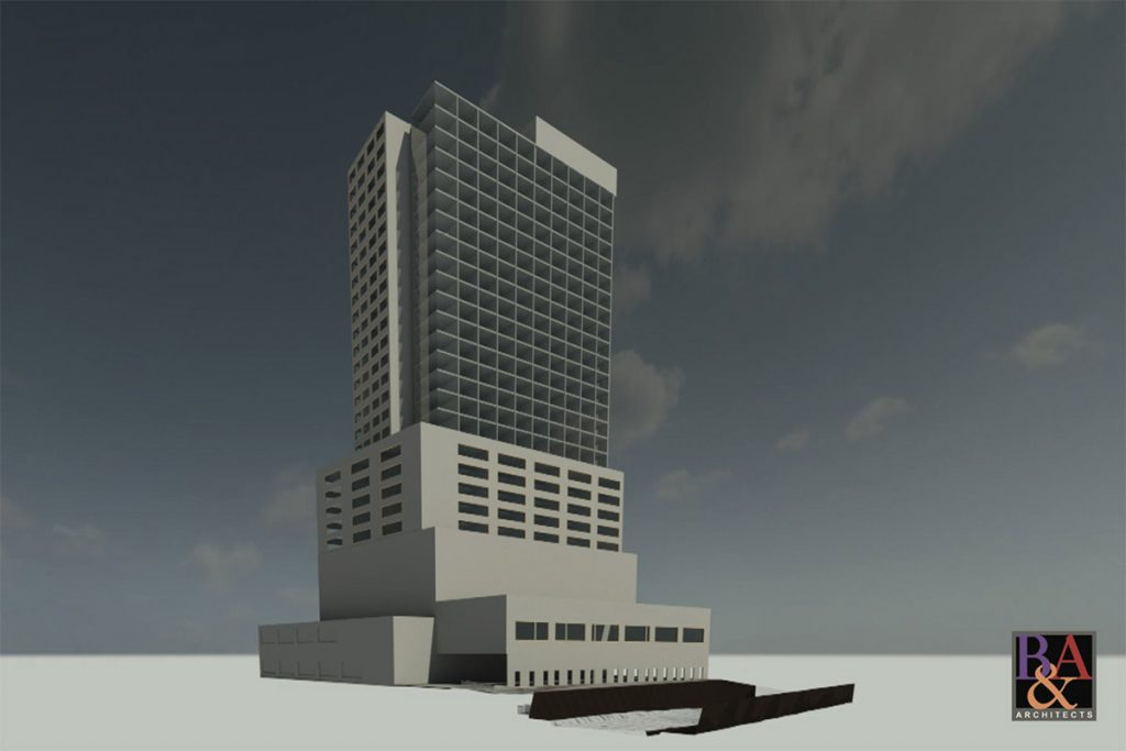 Rendering shows a 29-story hotel-condo tower at 1031 Navarro St.