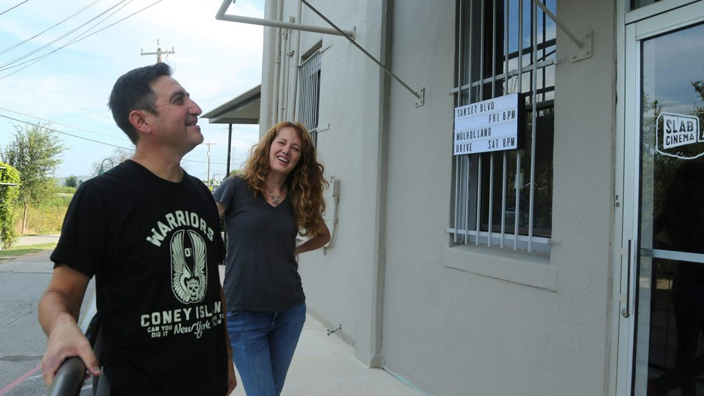 Rick and Angela Martinez stand outside Slab Cinema Arthouse, 134 Blue Star at the Blue Star Arts Complex on Aug. 25, 2021.