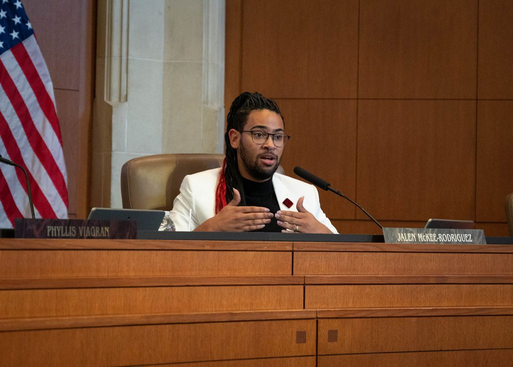 District 2 Councilman Jalen McKee-Rodriguez speaks during a City Council B Session Aug. 11 at City Hall.