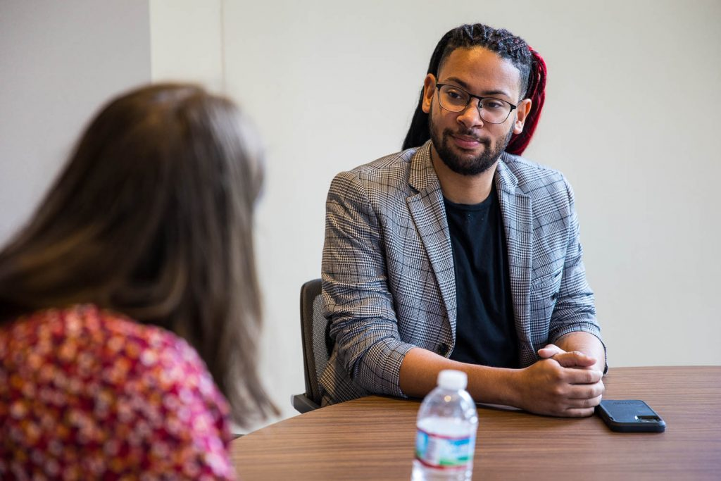 District 2 Councilman Jalen McKee-Rodriguez talks with Heron reporter Maggie Ryan on July 15, 2021 at his City Hall office.