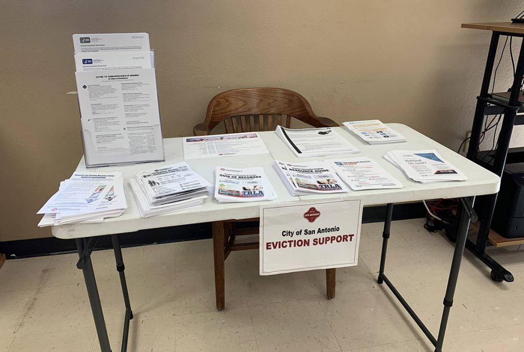 An eviction support table from the City of San Antonio is situated in Precinct 4 on Aug. 25, 2021.