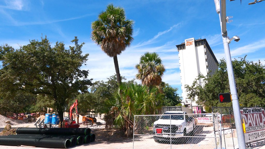 Construction on Maverick Plaza began in August and is expected to take two years to complete.