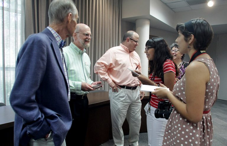 UJW workshoppers interview San Antonio executives in 2014.